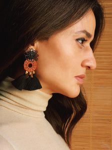 Earrings. Made from beautifully hand woven pieces by traditional artisans in Colombia from natural Horse Hair and assembled by Pola at her studio in Barcelona, featuring Gold plated beads and tassels adding an extra layer of awesomeness.  Butterfly fastening for pierced ears.    Limited Edition and Passionately Crafted in Barcelona.