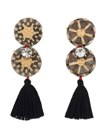 Rhinestones, Tassels and a touch of Red Hand Weaved Earrings