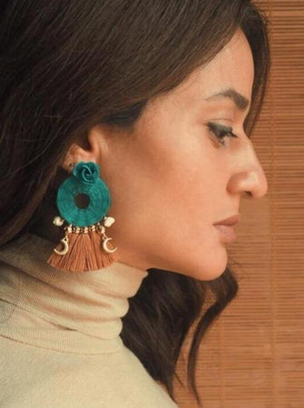Turquoise, Roses and Seashells Hand Woven Earrings