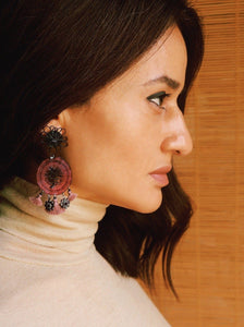 Earrings. Made from beautifully hand woven pieces by traditional artisans in Colombia from natural Horse Hair and assembled by Pola at her studio in Barcelona, featuring Burgundy Rhinestones and tiny tassels adding an extra layer of awesomeness. Butterfly fastening for pierced ears. One of a Kind and Passionately Crafted in Barcelona.