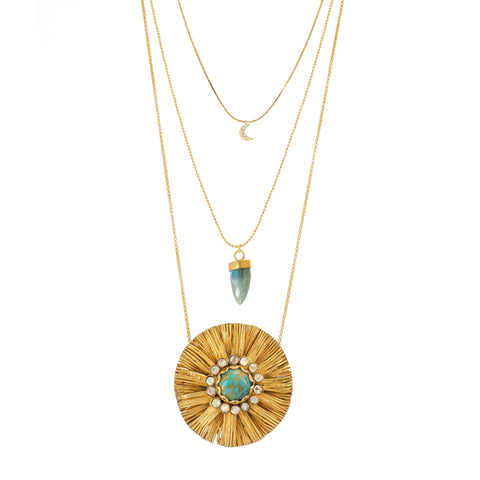 One of a Kind, Three layered Gold plated Necklace featuring a beautiful vintage Turquoise Sunburst pendant, a Labradorite Crystal set in Gold plated Silver and a dainty Crescent Moon incrusted with tiny diamonds.
