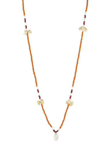 Beaded Necklace Orange, Sea Shells, Pearl, Gender Neutral