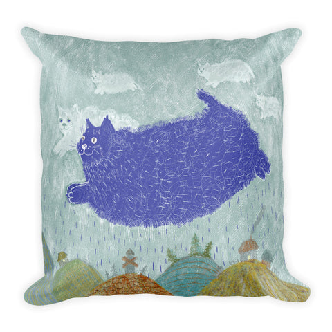 Flying Blue Cat Pillow