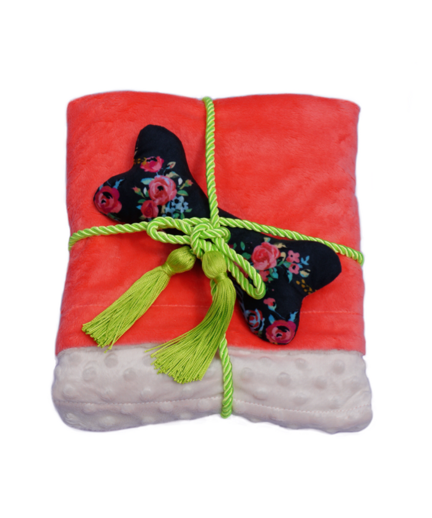 Luxury Pet Blanket with Plush Dog Bone (Coral) - The Farting Dog Company