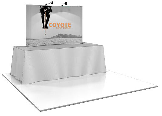 8 Ft. (3 x 2 Quad) Curved Coyote Mini Table Top Pop Up Display With Full Graphics
