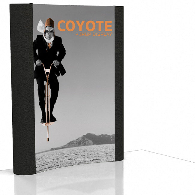 6 Ft. (2 x 3 Quad) Curved Coyote Pop Up Display With Front Graphic Mural And Fabric End Caps