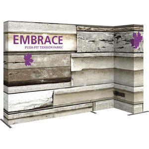 11 Ft. Embrace L-shape Full Height Single Right Sided Front Graphic Trade Show Display With End Caps - Left VIew
