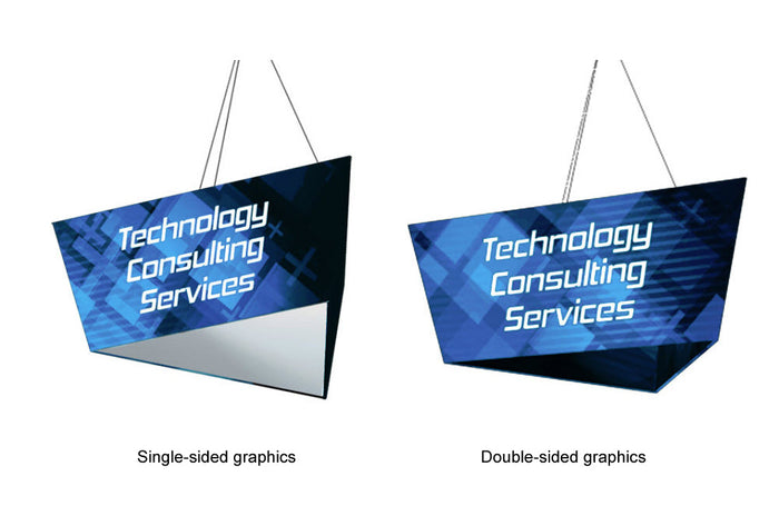 Tapered Triangle Hanging Sign Display with Graphic