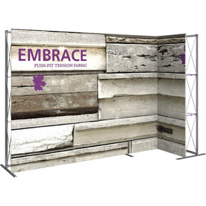 11 Ft. Embrace L-shape Full Height Double Right Sided Front Graphic Trade Show Display Without End Caps - Left View