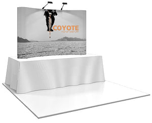 8 Ft. (3 x 2) Coyote Table Top Pop Up Display With Full Graphics - Curved
