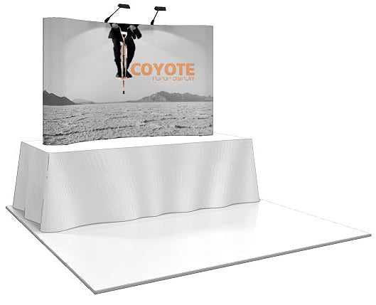 8 Ft. (3 x 2 Quad) Curved Coyote Table Top Pop Up Display With Full Graphics