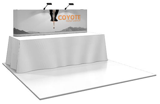 8 Ft. (3 x 1 Quad) Straight Coyote Table Top Pop Up Display With Full Graphics