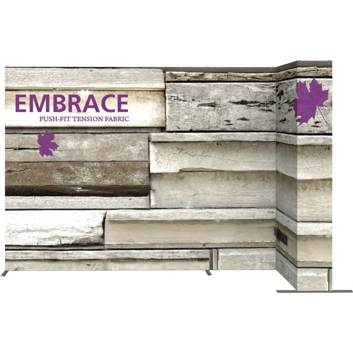 11 Ft. Embrace L-shape Full Height Single Right Sided Front Graphic Trade Show Display With End Caps