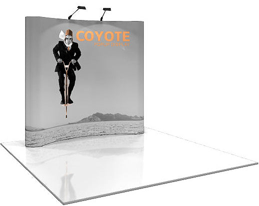 8 Ft. (3 x 3 Quad) Coyote Pop Up Display With Full Graphics - Curved - Replacement Graphics