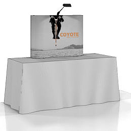 4 Ft. (1 x 1 Quad) Curved Coyote Table Top Pop Up Display With Full Graphics