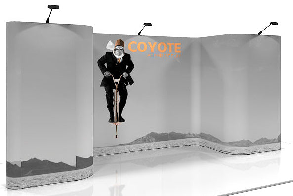 14 Ft. (5 x 3 Quad) Horseshoe Deluxe Coyote Pop Up Display With Full Graphics