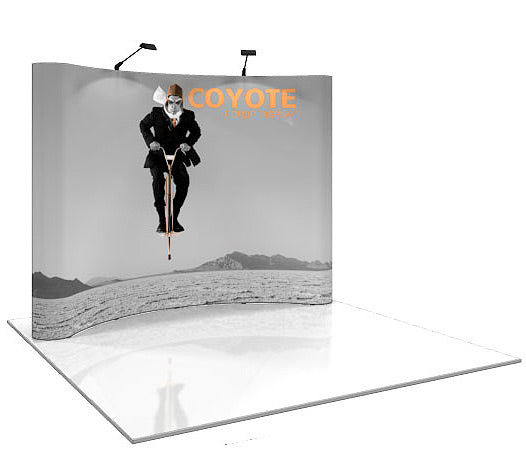 10 Ft. (4 x 3 Quad) Curved Coyote Pop Up Display With Full Graphics