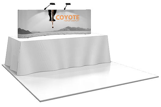 8 Ft. (3 x 1 Quad) Curved Coyote Table Top Pop Up Display With Full Graphics