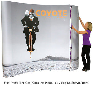 6 Ft. (2 x 1) Coyote Table Top Pop Up Display With Full Graphics - Curved - Product Assembly 6