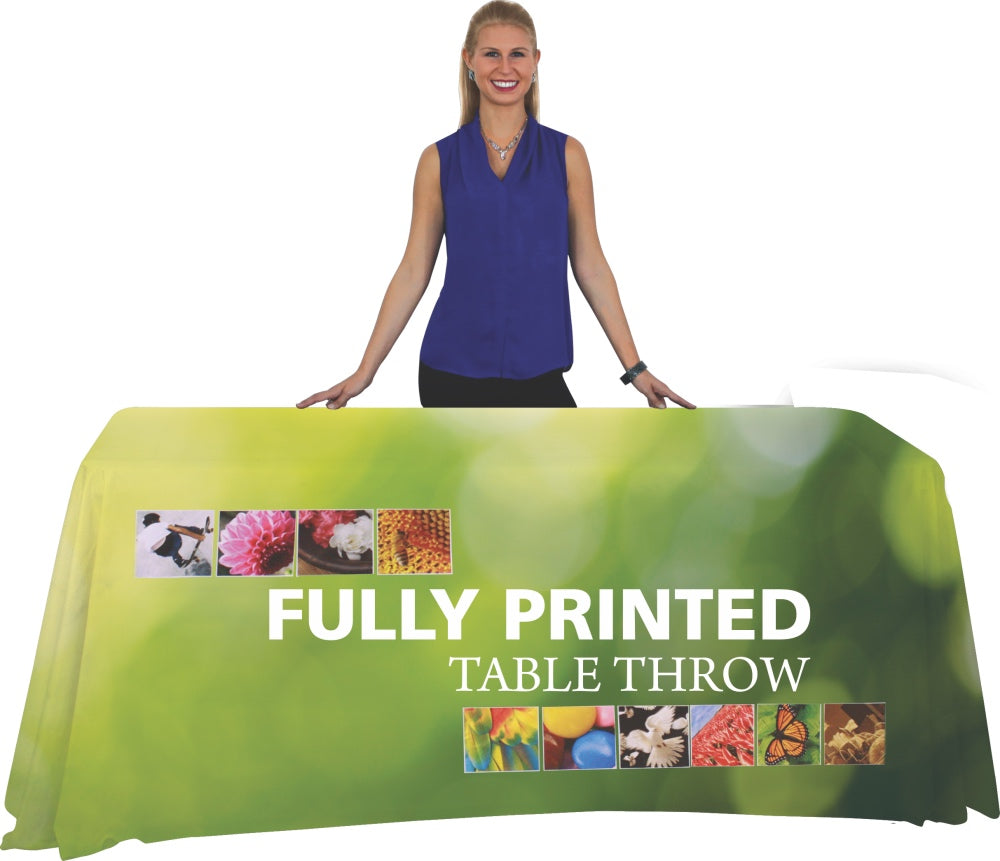4 Foot Open Back Fully Printed Table Throw with Model