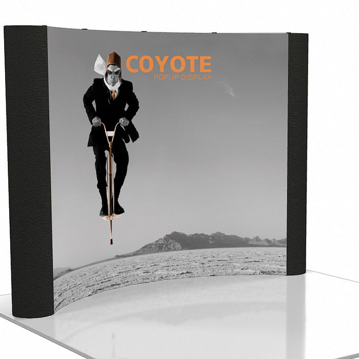 10 Ft. (4 x 3 Quad) Curved Coyote Pop Up Display With Front Graphic Mural And Fabric End Caps
