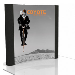 8 Ft. (3 x 3) Coyote Pop Up Display With Front Graphic Mural And Fabric End Caps - Curved