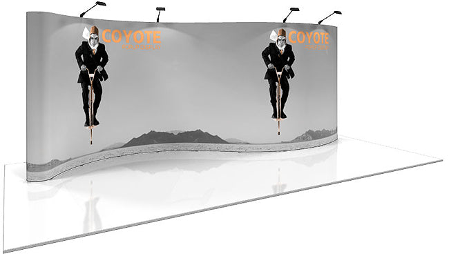 20 Ft. (7 x 3 Quad) Serpentine Coyote Pop Up Display With Full Graphics