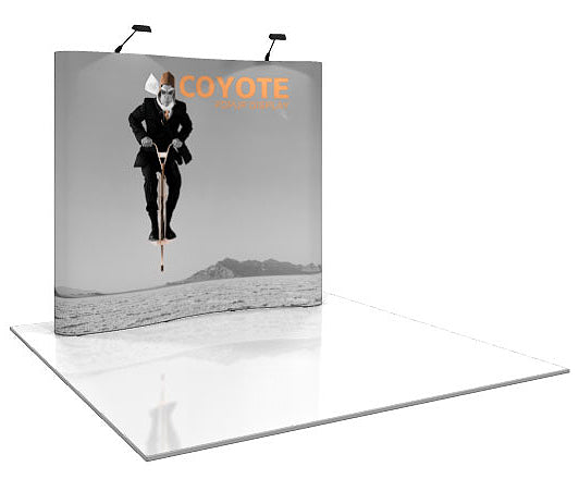 8 Ft. (3 x 3 Quad) Serpentine Coyote Pop Up Display With Full Graphics