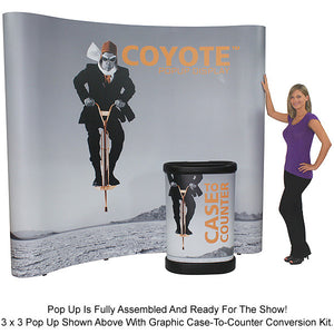 6 Ft. (2 x 1) Coyote Table Top Pop Up Display With Front Graphic Mural And Fabric End Caps - Curved - Product Assembly 7