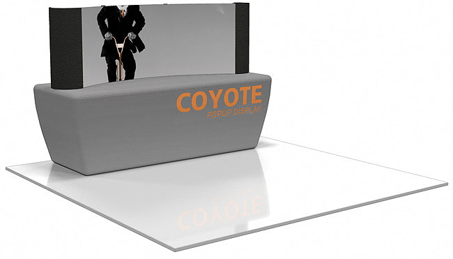 8 Ft. (3 x 1 Quad) Curved Coyote Table Top Pop Up Display With Front Graphic Mural And Fabric End Caps