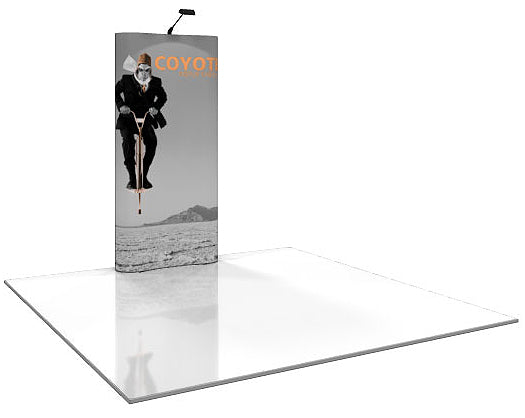 4 Ft. (1 x 3 Quad) Curved Coyote Pop Up Display With Full Graphics