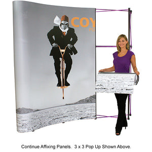 8 Ft. (3 x 3) Coyote Pop Up Display With Front Graphic Mural And Fabric End Caps - Curved - Product Assembly 5