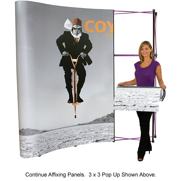 6 Ft. (2 x 3) Coyote Pop Up Display With Full Graphics - Curved - Product Assembly 5