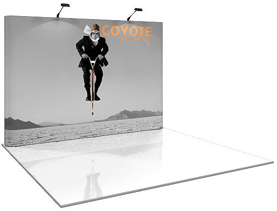 10 Ft. (4 x 3 Quad) Straight Coyote Pop Up Display With Full Graphics