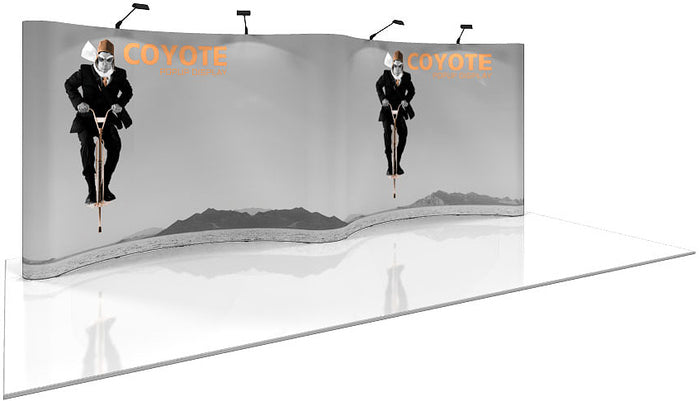 20 Ft. (8 x 3 Quad) Gullwing Coyote Pop Up Display With Full Graphics