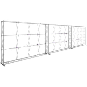 30 Ft. (12 x 3 Quad) Embrace Full Height Trade Show Inline Double Sided Display with End Caps - Frame Left View