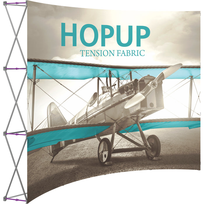 10 Ft. (4 x 3 Quad) Curved HopUp Trade Show Display Without End Caps