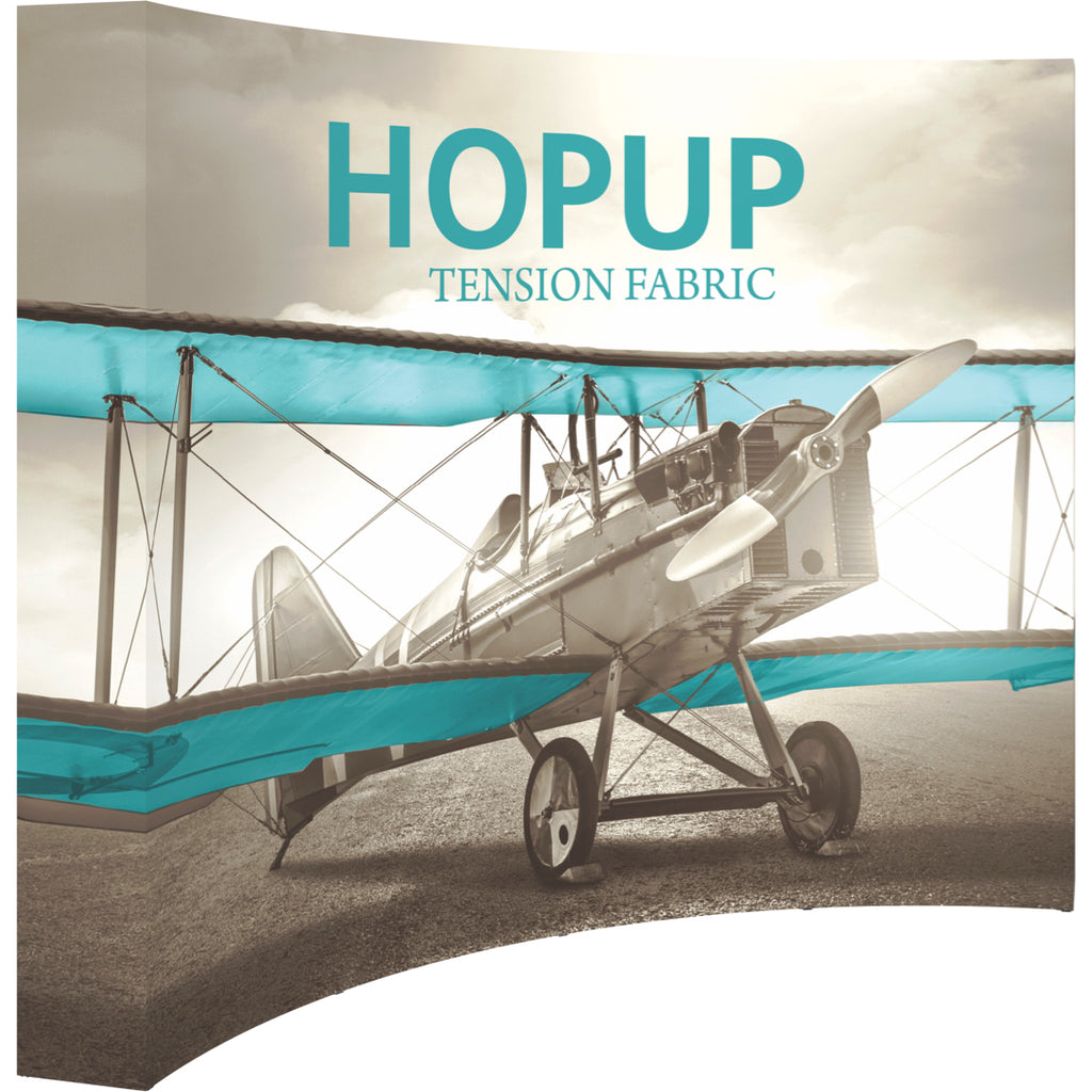 Curved Hopup Trade Show Display With End Caps - Left Side View