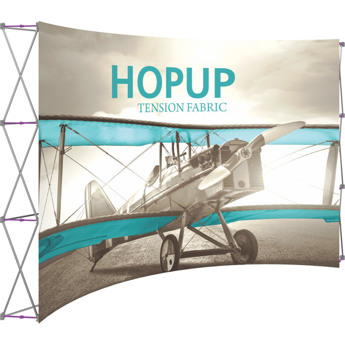12 Ft. x 8 Ft.  (5 x 3 Quad) Curved HopUp Trade Show Display Without End Caps