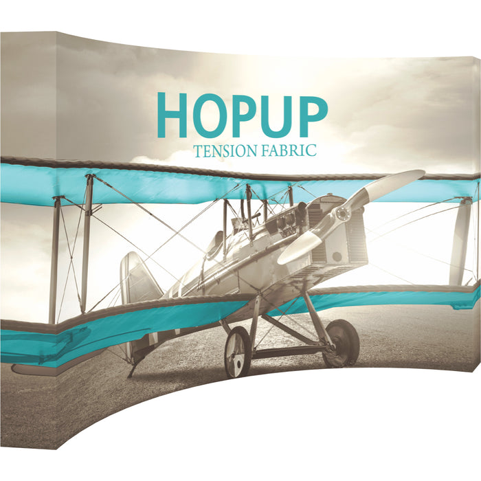 12 Ft. x 8 Ft. (5 x 3 Quad) Curved HopUp Trade Show Display With End Caps