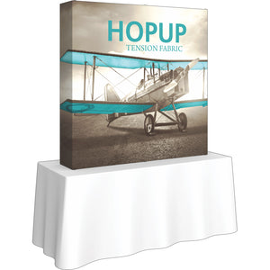 Straight Table Top HopUp Display With End Caps - Left Side View