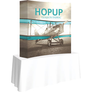 Curved Hopup Table Top Display With End Caps - Left Side View