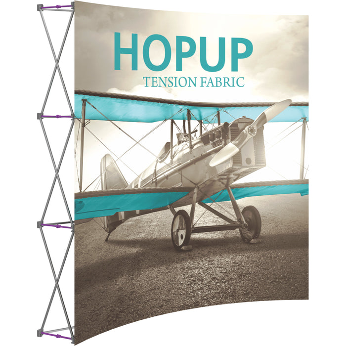 8 Ft. (3 x 3 Quad) Curved HopUp Trade Show Display Without End Caps