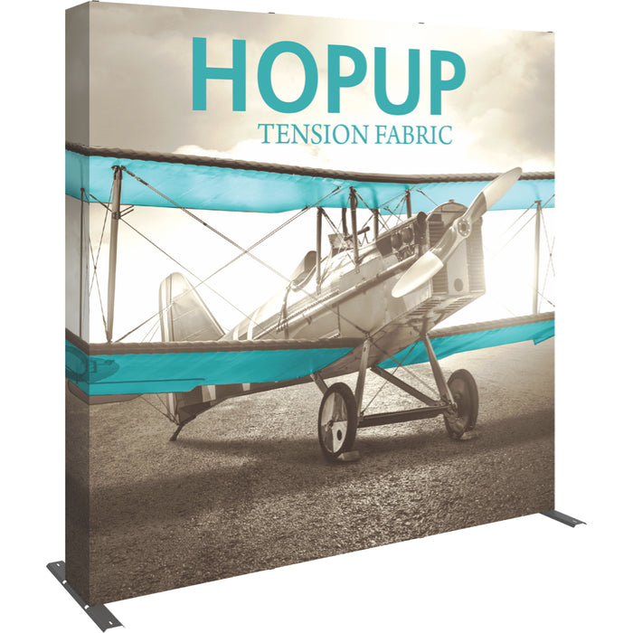 8 Ft. (3 x 3 Quad) Straight HopUp Trade Show Display With End Caps [Graphic Only]