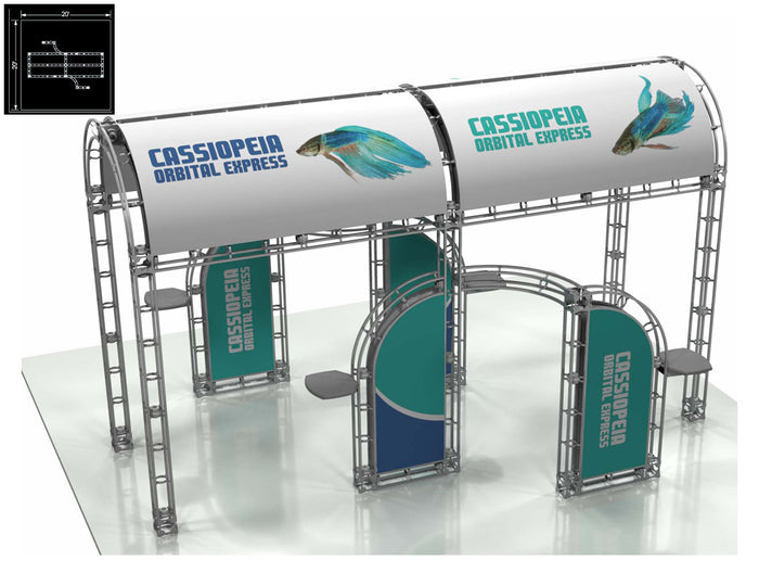 Cassiopeia Orbital Express 20' x 20' Truss Trade Show Display Booth