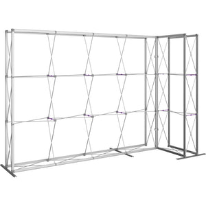 11 Ft. Embrace L-shape Full Height Double Right Sided Front Graphic Trade Show Display With End Caps - Frame Left View