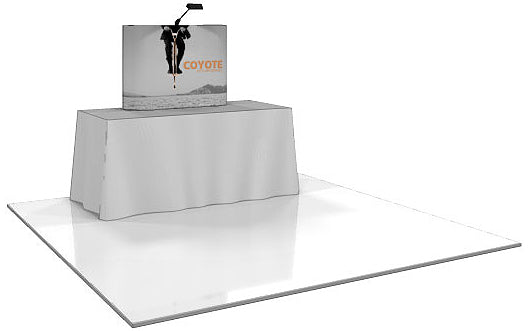 4 Ft. (1 x 1 Quad) Coyote Table Top  Pop Up Display With Full Graphics - Straight [Graphic Only]
