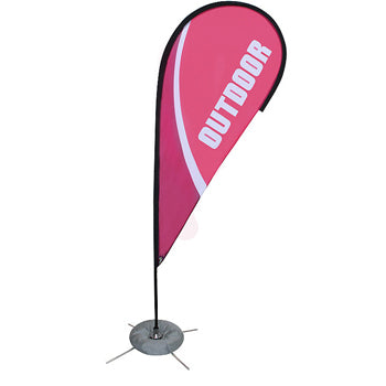 Zoom Teardrop Indoor/Outdoor Banner Stand With Full Graphics - Single Sided