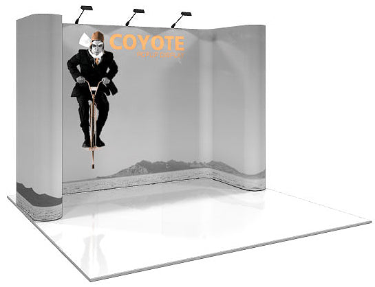 10 Ft. (5 x 3 Quad) Horseshoe Coyote  Pop Up Display With Full Graphics - Replacement Graphics