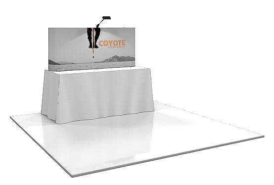6 Ft. (2 x 1 Quad) Coyote Table Top  Pop Up Display With Full Graphics - Straight - Replacement Graphics